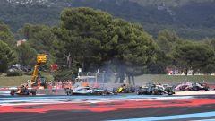 F1, GP Francia 2018 - La sequenza dell'incidente al via tra Bottas e Vettel