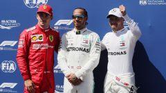 F1 GP Francia 2019, Charles Leclerc (Ferrari), Lewis Hamilton e Valtteri Bottas (Mercedes)
