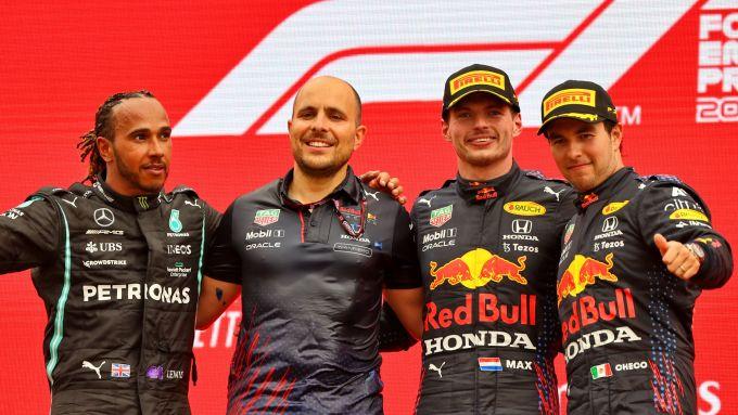 F1, GP Francia 2021: il podio della gara con Lewis Hamilton, Max Verstappen e Sergio Perez