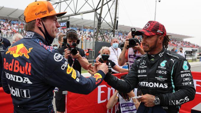 F1 GP Francia 2021, Le Castellet: Max Verstappen (Red Bull) e Lewis Hamilton (Mercedes)
