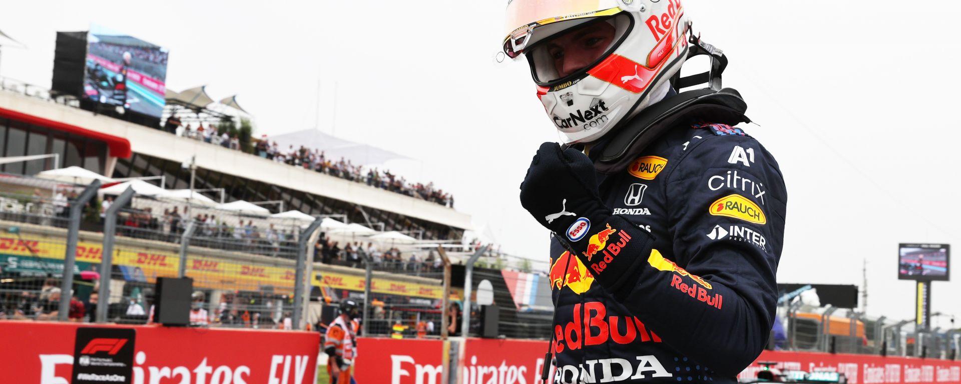 F1 GP Francia 2021, Le Castellet: Max Verstappen (Red Bull Racing) esulta per la pole position