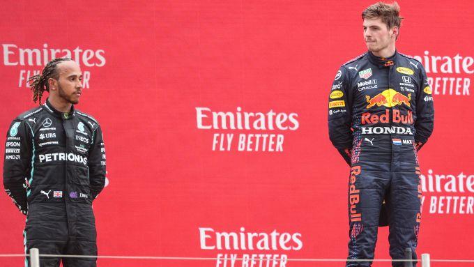 F1 GP Francia 2021, Le Castellet: Verstappen (Red Bull) e Hamilton (Mercedes) sul podio
