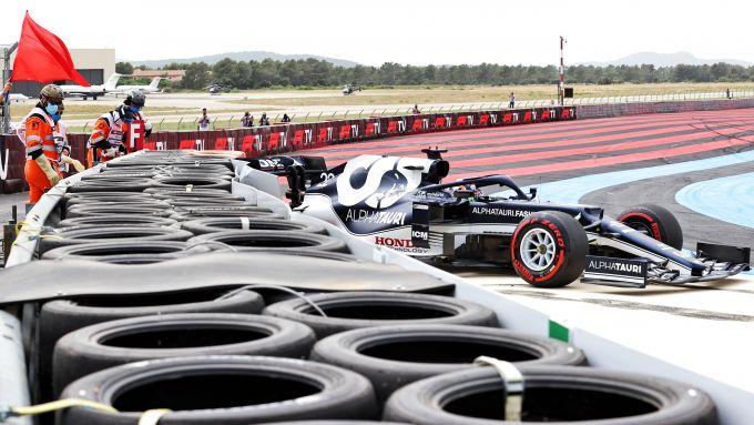 F1 GP Francia 2021, Le Castellet: Yuki Tsunoda (Scuderia AlphaTauri) a muro in Q1