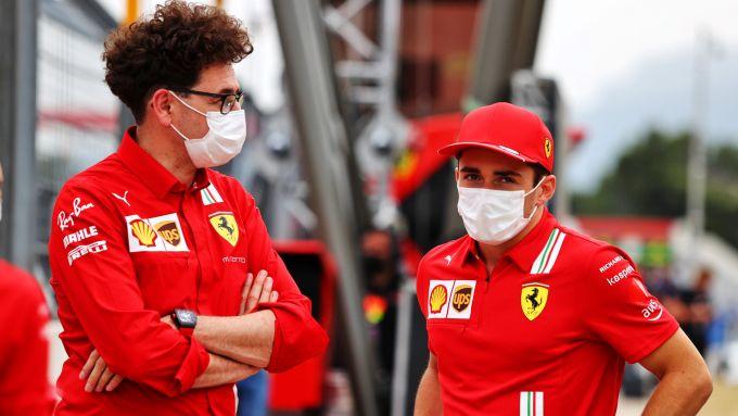 F1, GP Francia 2021: Mattia Binotto e Charles Leclerc (Ferrari)