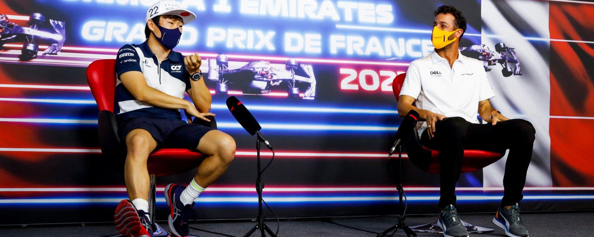 F1, GP Francia 2021: Yuki Tsunoda e Daniel Ricciardo in conferenza stampa