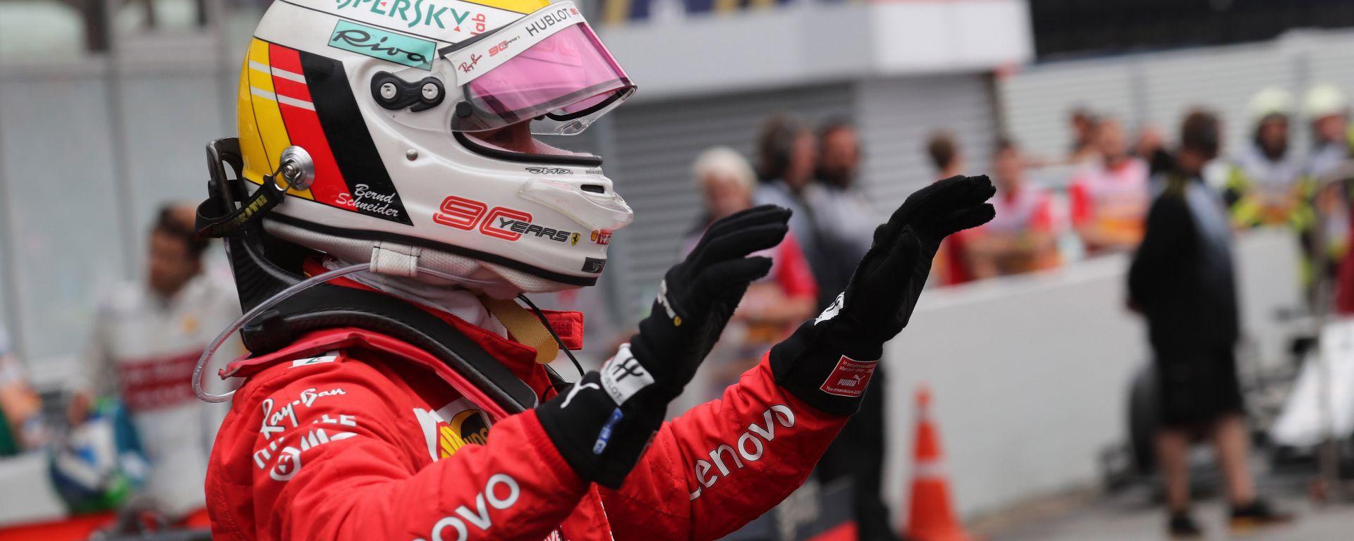 F1 GP Germania 2019, Sebastian Vettel (Ferrari) esulta dopo il secondo posto a Hockenheim