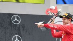 F1 GP Germania 2019, Sebastian Vettel (Ferrari) esulta sul podio