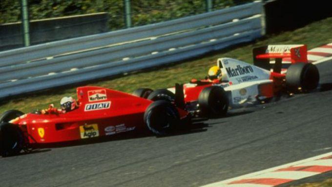 F1, GP Giappone 1990: il contatto tra Alain Prost (Ferrari) e Ayrton Senna (McLaren)