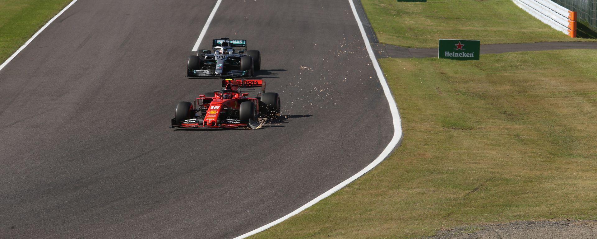 F1, GP Giappone 2019: Charles Leclerc (Ferrari) con l'ala anteriore danneggiata impegnato a Suzuka