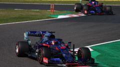 F1, GP Giappone 2019: Daniil Kvyat e Pierre Gasly (Toro Rosso) impegnati a Suzuka