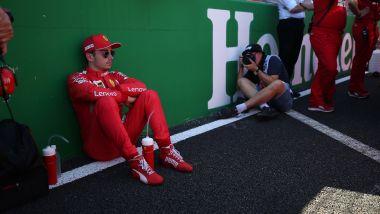 F1 GP Giappone 2019, Suzuka: Charles Leclerc (Ferrari) prima della partenza della gara