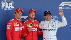 F1 GP Giappone 2019, Suzuka: Sebastian Vettel e Charles Leclerc (Ferrari), Valtteri Bottas (Mercedes)