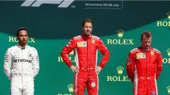 F1 GP Gran Bretagna 2018, Il podio con Vettel, Hamilton e Raikkonen
