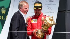 F1 GP Gran Bretagna 2018, Silverstone: Martin Brundle (Sky Sports Uk) con Sebastian Vettel (Ferrari)