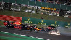 F1 GP Gran Bretagna 2019, l'incidente tra Verstappen (Red Bull) e Vettel (Ferrari)