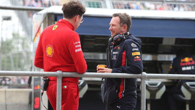 F1, GP Gran Bretagna 2019: Mattia Binotto (Ferrari) e Chris Horner (Red Bull)