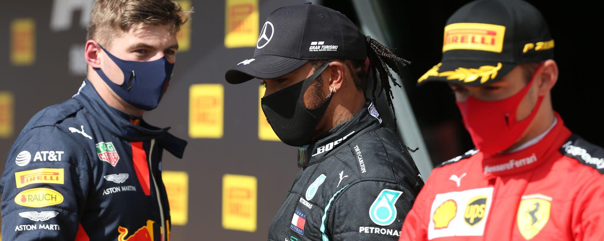 F1, GP Gran Bretagna 2020: Max Verstappen (Red Bull), Lewis Hamilton (Mercedes) e Charles Leclerc (Ferrari)