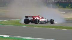 F1 GP Gran Bretagna 2020, Silverstone: il testacoda di Giovinazzi (Alfa Romeo) nelle PL1
