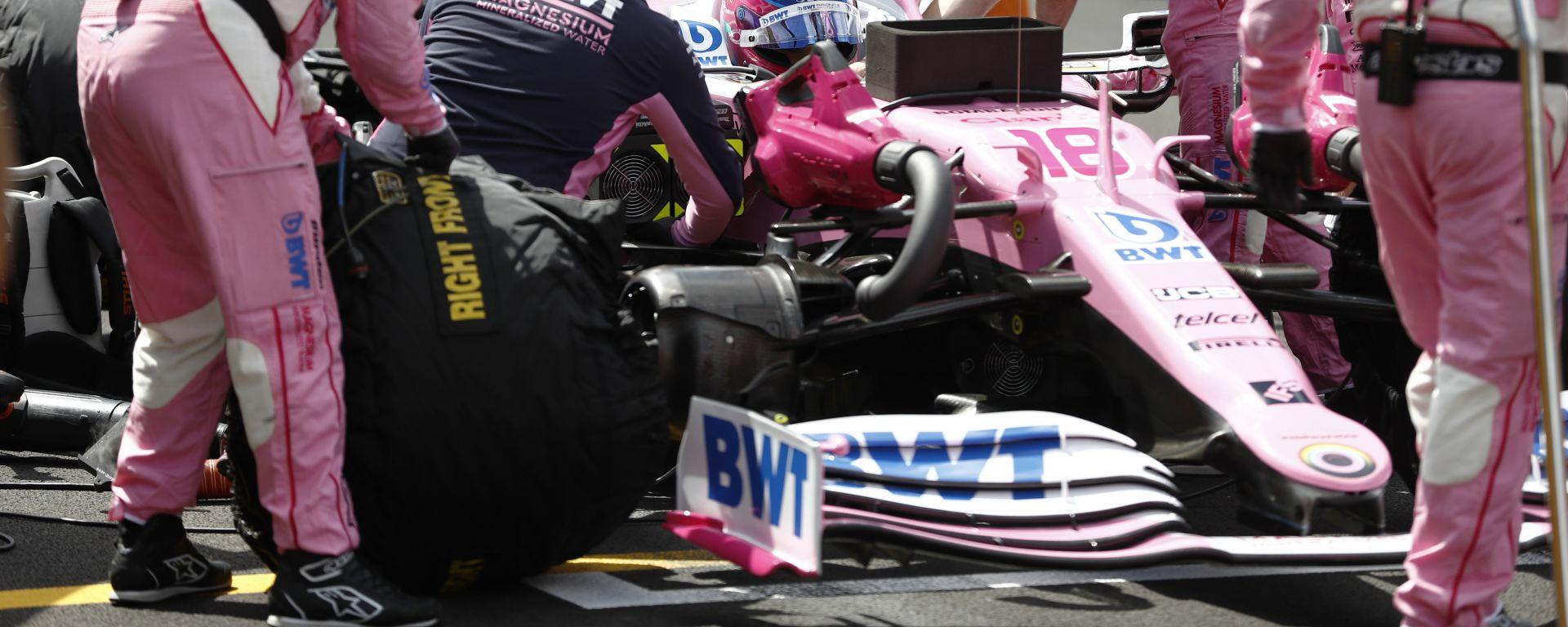 F1 GP Gran Bretagna 2020, Silverstone: Lance Stroll (RAcing Point) in griglia di partenza