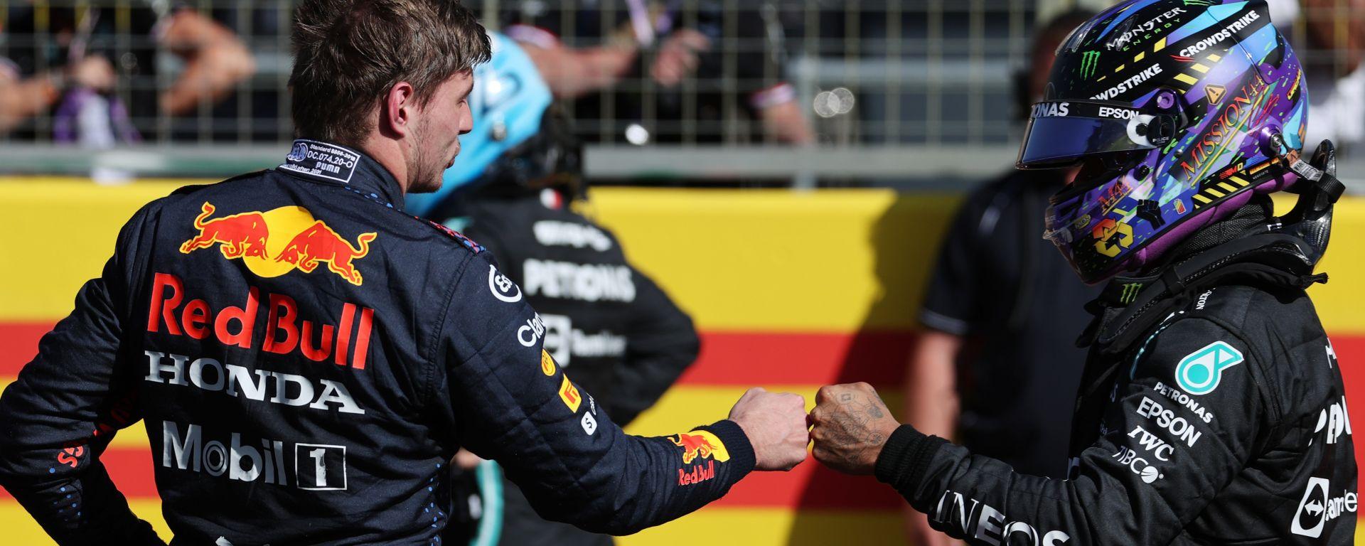 F1 GP Gran Bretagna 2021, Silverstone: Max Verstappen (Red Bull) e Lewis Hamilton (Mercedes)