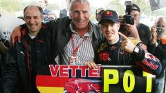 F1, GP Italia 2008: Franz Tost, Dietrich Mateschitz e Sebastian Vettel (Toro Rosso)