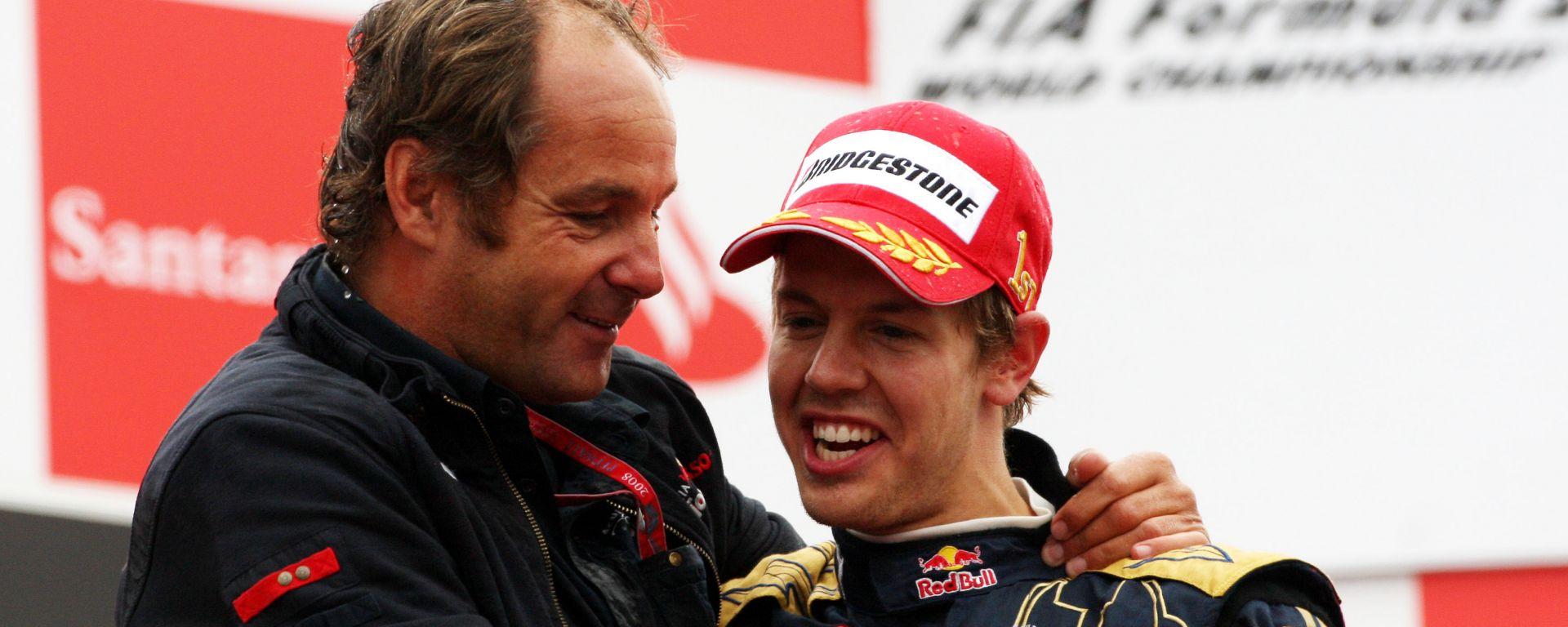 F1, GP Italia 2008: Gerhard Berger e il vincitore Sebastian Vettel (Toro Rosso)