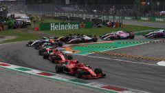 F1 GP Italia 2018, Monza. L'uscita della prima chicane dopo la partenza