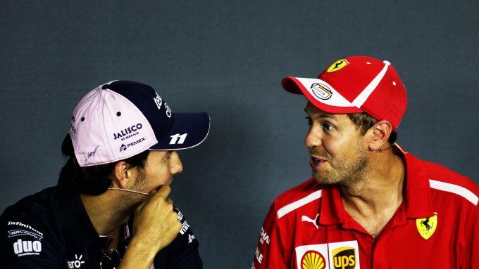 F1 GP Italia 2018, Monza: Perez (Racing Point) e Vettel (Ferrari) in conferenza stampa