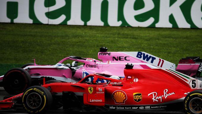 F1 GP Italia 2018, Monza: Sergio Perez (Racing Point) e Sebastian Vettel (Ferrari) in pista