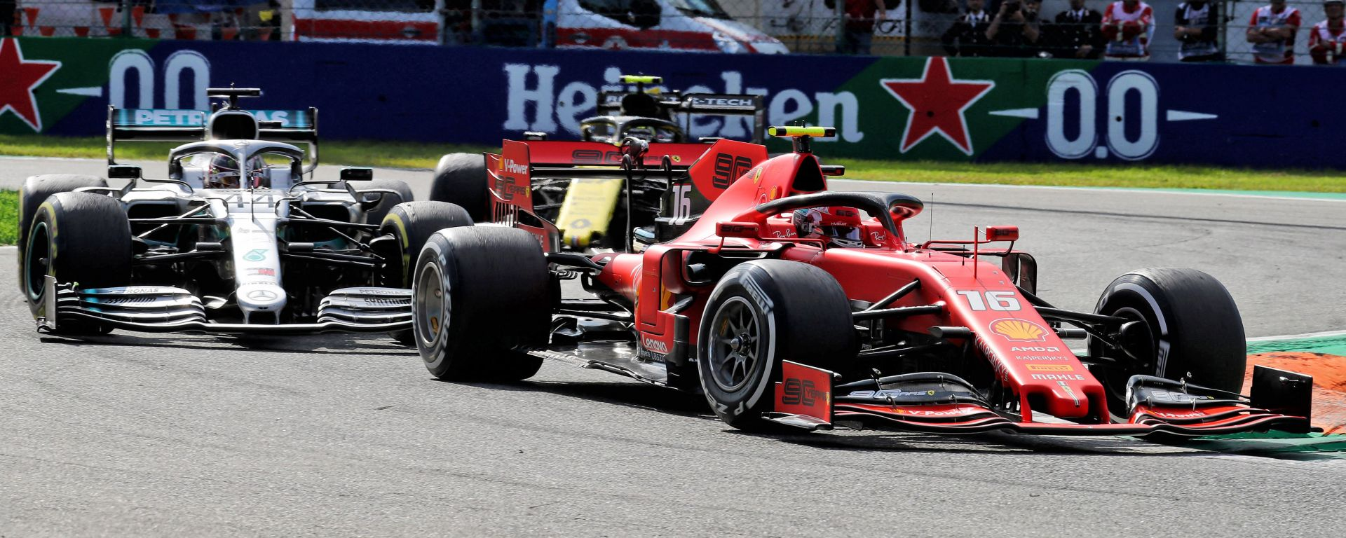 F1, GP Italia 2019: Charles Leclerc (Ferrari) e Lewis Hamilton (Mercedes)