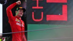 F1 GP Italia 2019, Monza: Charles Leclerc esulta per la vittoria del Gp di casa Ferrari