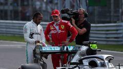 F1 GP Italia 2019, Monza, Charles Leclerc (Ferrari) con Lewis Hamilton (Mercedes)