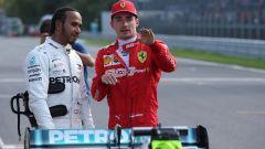 F1 GP Italia 2019, Monza: Charles Leclerc (Ferrari) e Lewis Hamilton (Mercedes) dopo le qualifiche