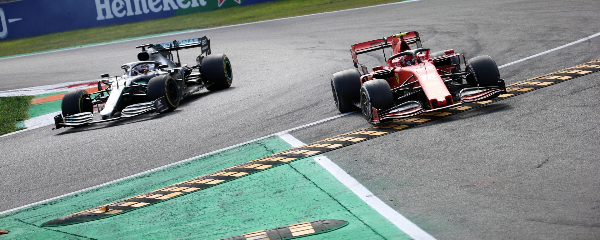 F1 GP Italia 2019, Monza: Charles Leclerc (Ferrari) e Lewis Hamilton (Mercedes)