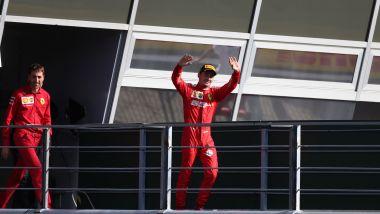 F1 GP Italia 2019, Monza: Charles Leclerc (Ferrari) esulta sul podio