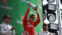 F1 GP Italia 2019, Monza, Charles Leclerc (Ferrari) festeggia sul podio di Monza