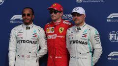 F1 GP Italia 2019, Monza, Charles Leclerc (Ferrari) tra Hamilton e Bottas (Mercedes)