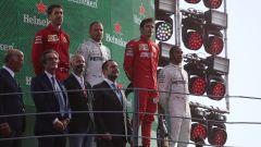 F1 GP Italia 2019, Monza: Charles Leclerc (Ferrari), Valtteri Bottas e Lewis Hamilton (Mercedes) sul podio
