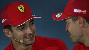 F1 GP Italia 2019, Monza: Charles Leclerc scherza con Sebastian Vettel (Ferrari)