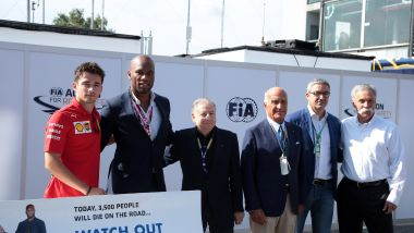 F1 GP Italia 2019, Monza: (da sinistra) Leclerc, Drogba, Todt, Sticchi Damiani, Uboldi e Carey