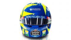 F1 GP Italia 2019, Monza: il casco di Lando Norris (McLaren) dedicato a Valentino Rossi. Vista anteriore