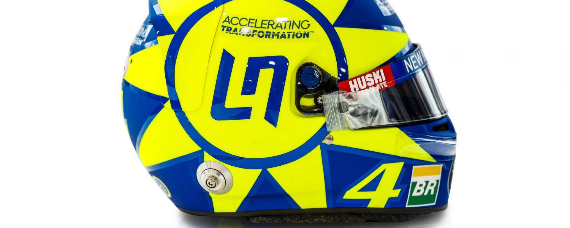 F1 GP Italia 2019, Monza: il casco di Lando Norris (McLaren) dedicato a Valentino Rossi. Vista laterale
