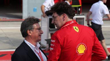F1 GP Italia 2019, Monza, il presidente Ferrari Louis Camilleri con il team principal Mattia Binotto