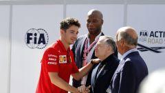F1 GP Italia 2019, Monza, Jean Todt (FIA), Didier Drogba, Charles Leclerc (Ferrari) e Angelo Sticchi Damiani (ACI)