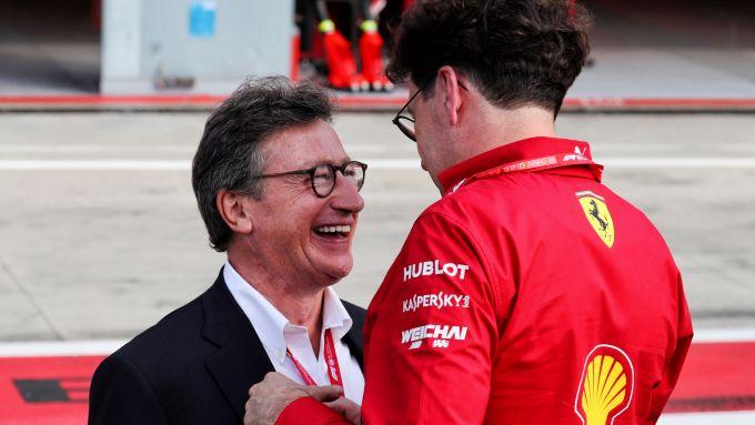 F1 GP Italia 2019, Monza: Louis Camilleri con il team principal Mattia Binotto (Scuderia Ferrari)