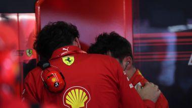 F1 GP Italia 2019, Monza: Mattia Binotto a colloquio con Charles Leclerc (Ferrari)