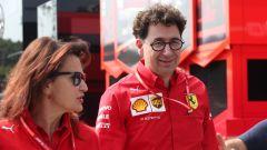 F1 GP Italia 2019, Monza: Mattia Binotto con l'addetto stampa della Ferrari, Silvia Hofer