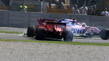 F1 GP Italia 2019, Monza, Sebastian Vettel (Ferrari) si gira alla variante Ascari, riparte e tocca Lance Stroll (Racing Point)