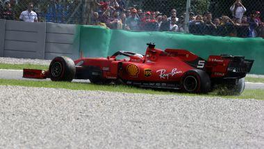 F1 GP Italia 2019, Monza, Sebastian Vettel (Ferrari) si gira alla variante Ascari
