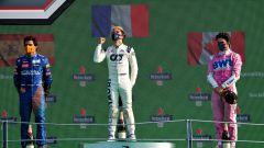 F1, GP Italia 2020: il podio con Pierre Gasly (AlphaTauti), Carlos Sainz (McLaren) e Lance Stroll (Racing Point)